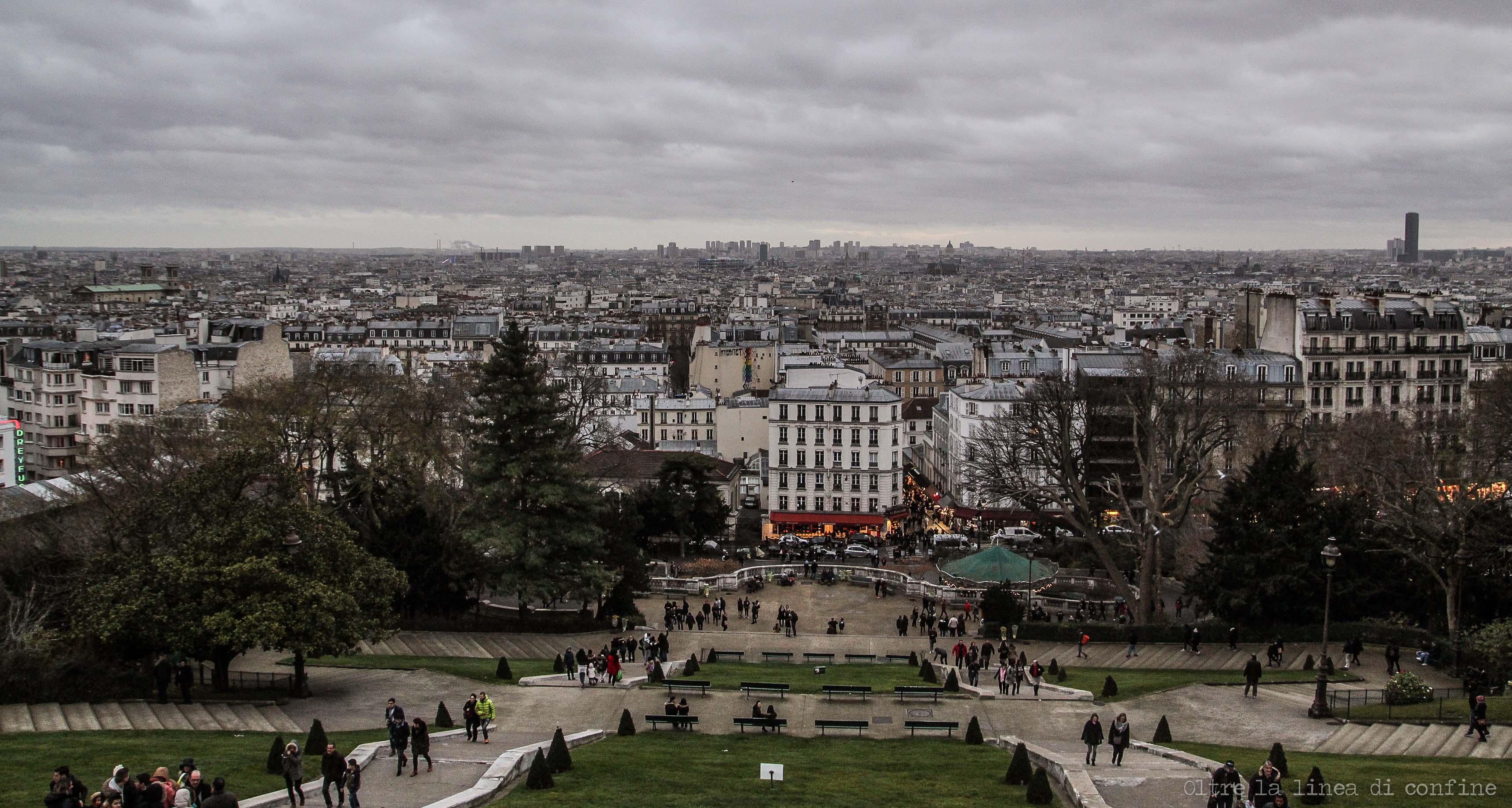 Parigi Vista dall'Alto da Sacre Coeur Montmartre